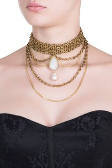 Gold plated pendant choker necklace by SAMSARA Jewels by RH