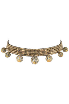 Gold plated beaded choker necklace by SAMSARA Jewels by RH