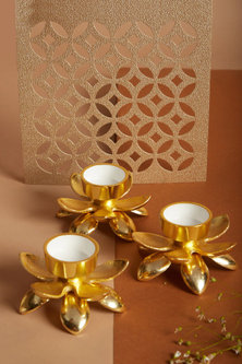 Gold Lotus T-Light Holders (Set of 3) by Assemblage