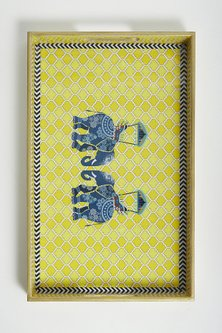 Yellow Royal Mughal Elephant Tray by Assemblage