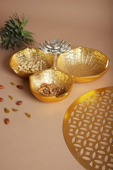 Gold Blooming Lotus Bowl Server by Assemblage
