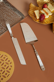 Silver Steel Cake Knife & Spatula Set by Assemblage