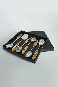 Steel Silver & Gold Feather Spoon Set (Set of 6) by Assemblage