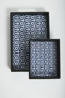Indigo Patola Fabric Print Trays (Set of 2) by Assemblage