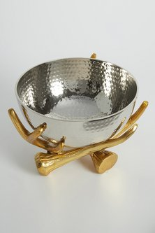 Metallic Silver Bowl With Rustic Gold Twig Stand by Assemblage