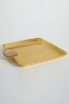 Gold Square Nickel Plated Tray by Assemblage