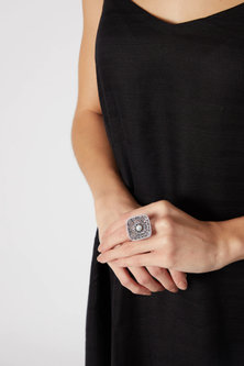 Black Rhodium Finish Diamond Ring by Aster