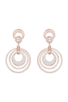 Rose Gold Finish Two Toned Earrings by Aster
