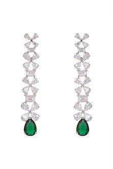 White Finish Green Stone Dangler Earrings by Aster