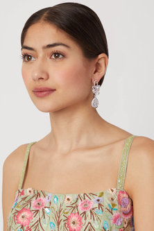 White Finish Leaf Shaped Earrings by Aster