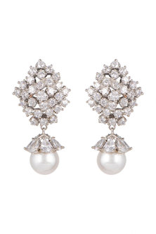 White Finish Pearl Cluster Earrings by Aster