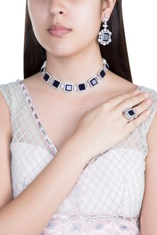 White Finish Faux Pearl, Diamond & Blue Stone Choker Necklace Set With Ring by Aster