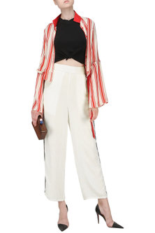 White Striped Trousers by Ash Haute Couture