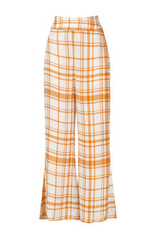 Orange and White Striped Wide Leg Trousers by Ash Haute Couture