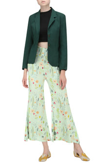 Blue Floral Print Striped Wide Leg Trousers by Ash Haute Couture