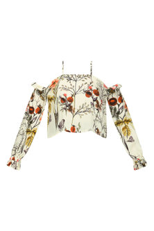 White Off Shoulder Crop Top by Ash Haute Couture