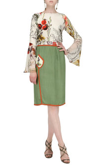 Olive Green Skirt with Thigh High Slit by Ash Haute Couture