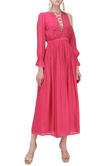 Pink One Side Cold Shoulder Sleeve Maxi Dress by Ash Haute Couture