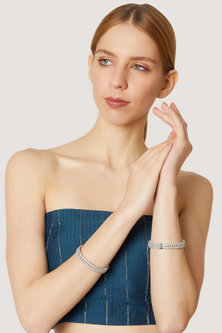 White Finish Bangle With Diamonds by Aster
