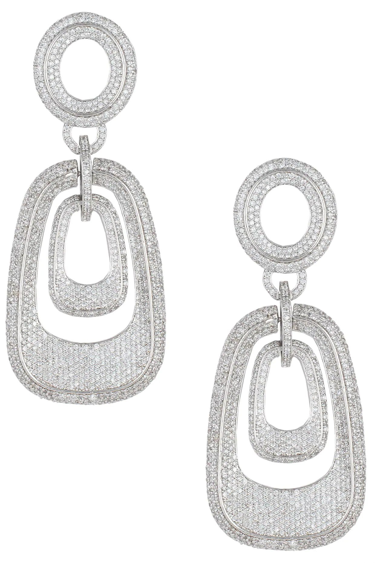 Silver plated white rhodium diamond link earrings by Aster