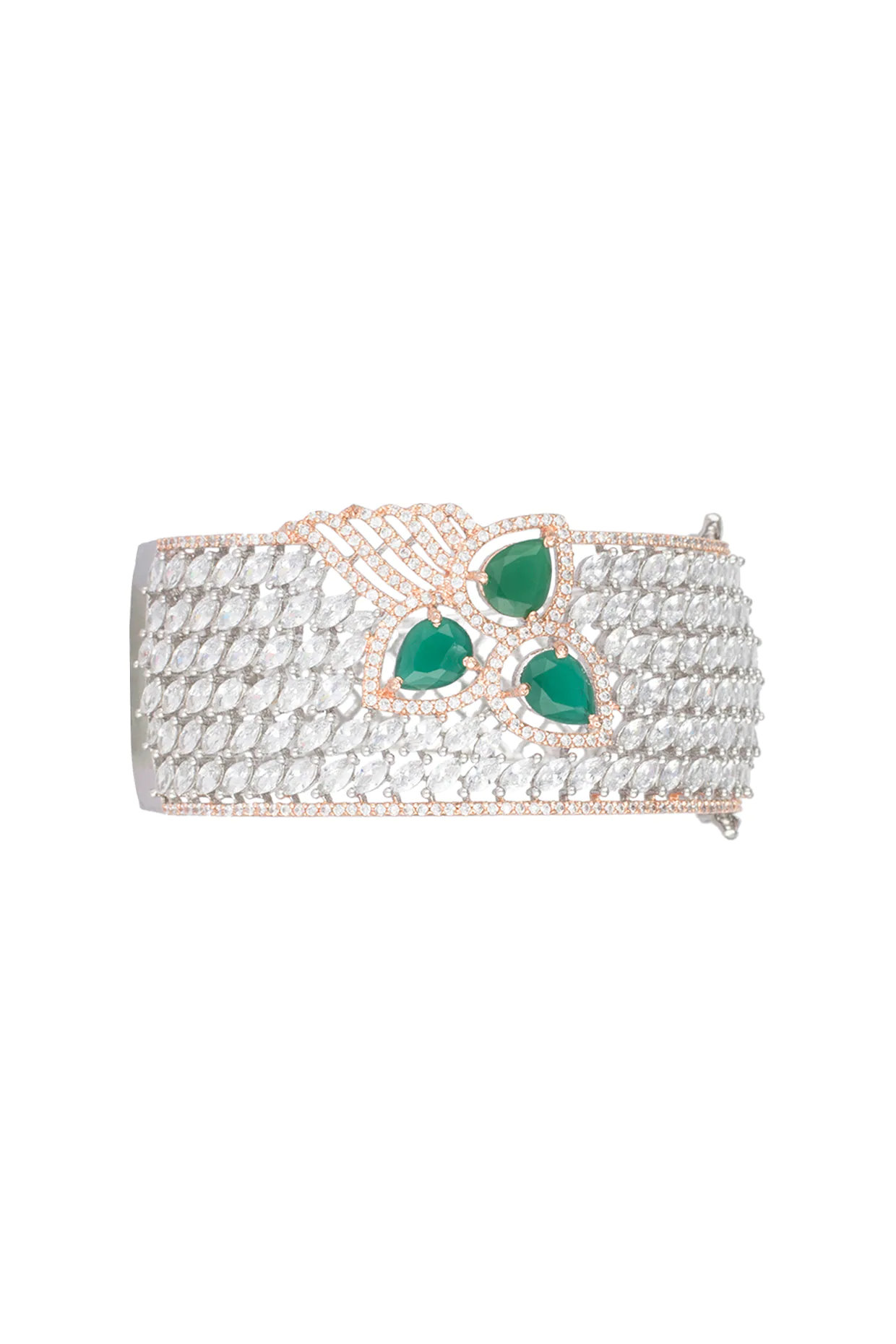 Silver plated faux diamond and emerald bracelet