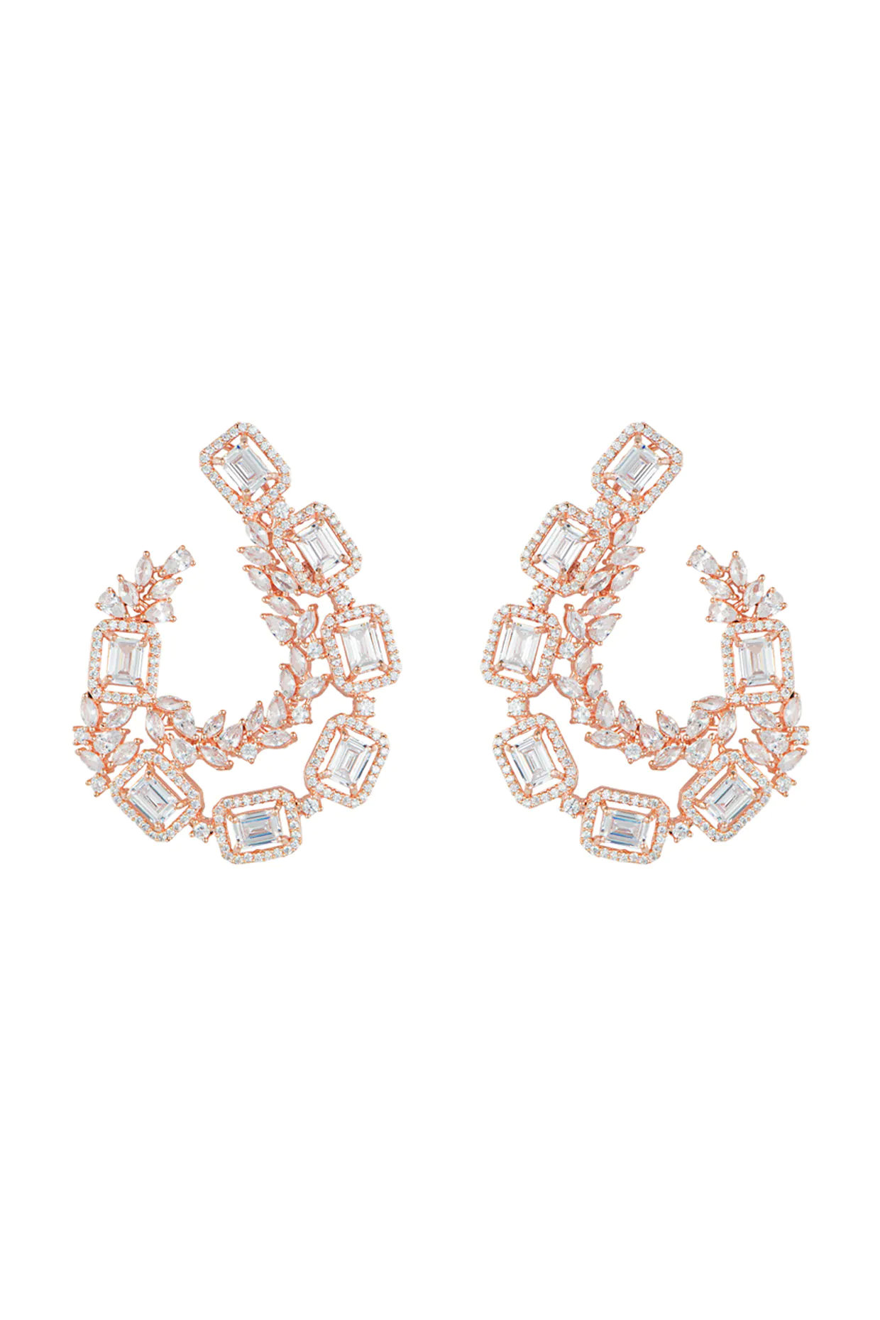 Rose gold plated faux diamond earrings by Aster-Handpicked for You
