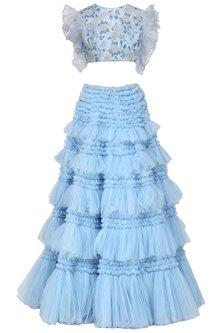 Blue Embroidered Ruffle Lehenga Skirt with Blouse by Architha Narayanam
