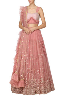 Pink Embellished Lehenga Set by Architha Narayanam