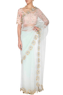 Powder blue embroidered saree set by Architha Narayanam