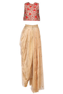 Red Floral Embroidered Crop Top with Gold Dhoti Skirt by Architha Narayanam