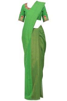 Green Matka Silk Saree with Blouse by Architha Narayanam