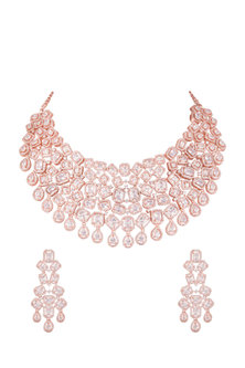 Rose Gold Finish Diamante Necklace Set by Auraa Trends