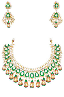 Gold Plated Red & Green Meenakari Necklace Set by Auraa Trends