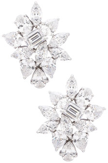 Silver Finish Cubic Zirconia Embellished Earrings by Auraa Trends