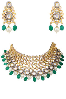 Gold plated kundan and white and green beads necklace set by AURAA TRENDS