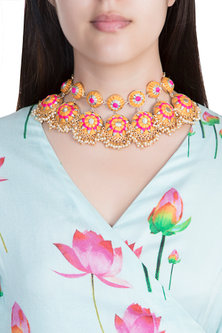 Matte Gold Finish Embroidered Pearl Hanging Layered Necklace by Bauble Bazaar