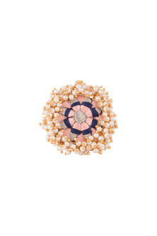 Matte Gold Finish Peach Embroidered Pearl Hanging Ring by Bauble Bazaar