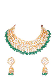 Gold Plated Pachi Kundan & Emerald Necklace Set by Bauble Bazaar