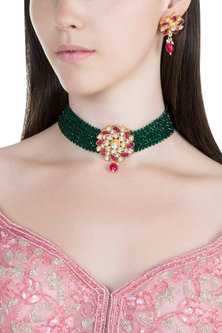 Gold Plated Pachi Kundan & Emerald Choker Necklace Set by Bauble Bazaar