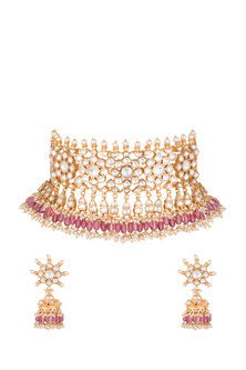 Gold Plated Pachi Kundan & Pink Stone Necklace Set by Bauble Bazaar