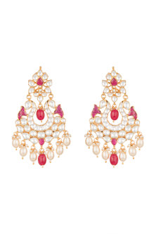 Gold Plated Pachi Kundan & Ruby Pink Stones Earrings by Bauble Bazaar