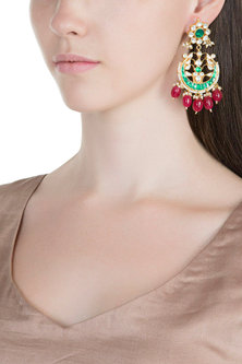 Gold Plated Pachi Kundan & Stone Earrings by Bauble Bazaar