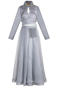 Grey Embroidered Top With Skirt by Abha Choudhary