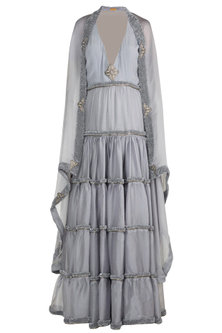 Grey Embroidered Chunnat Anarkali With Jacket by Abha Choudhary