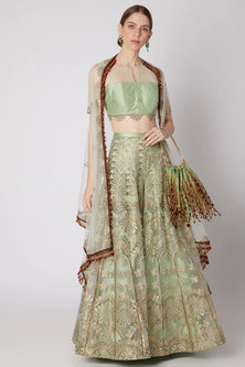 Light Mint Green Embroidered Palazzo Pants & Blouse With Jacket And Potli by Abha Choudhary