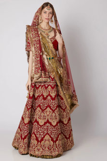 Deep Red Lehenga Set With Belt by Abha Choudhary