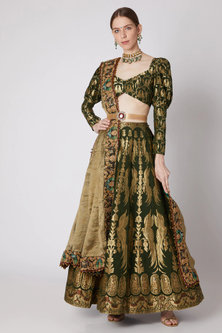 Dull Bottle Green Embroidered Lehenga Set With Belt by Abha Choudhary