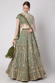 Mint Green & Bottle Green Embroidered Lehenga Set With Potli by Abha Choudhary