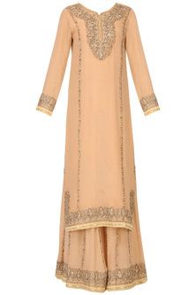 Barley Beige Embroidered Kurta and Sharara Pants Set by Bodhitree Jaipur