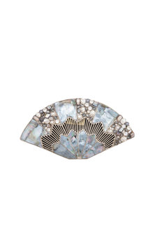Nickel Handcrafted Mother Of Pearl & Crystal Clutch by Be Chic